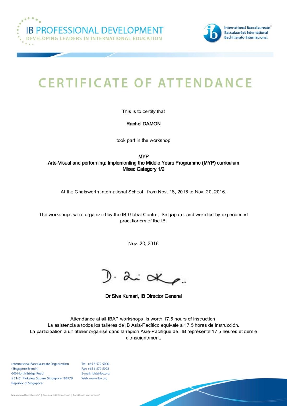 MYP Arts Certificate Rachel Damon